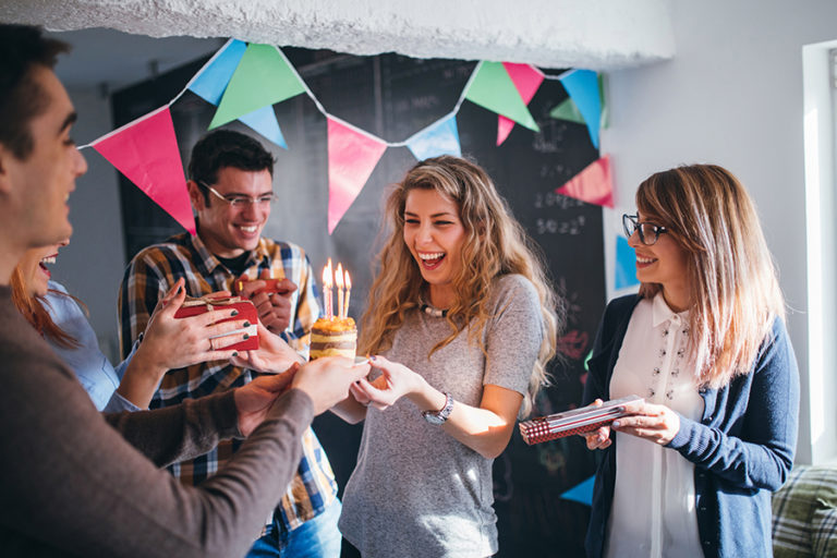 Photo of colleagues celebrating a birthday