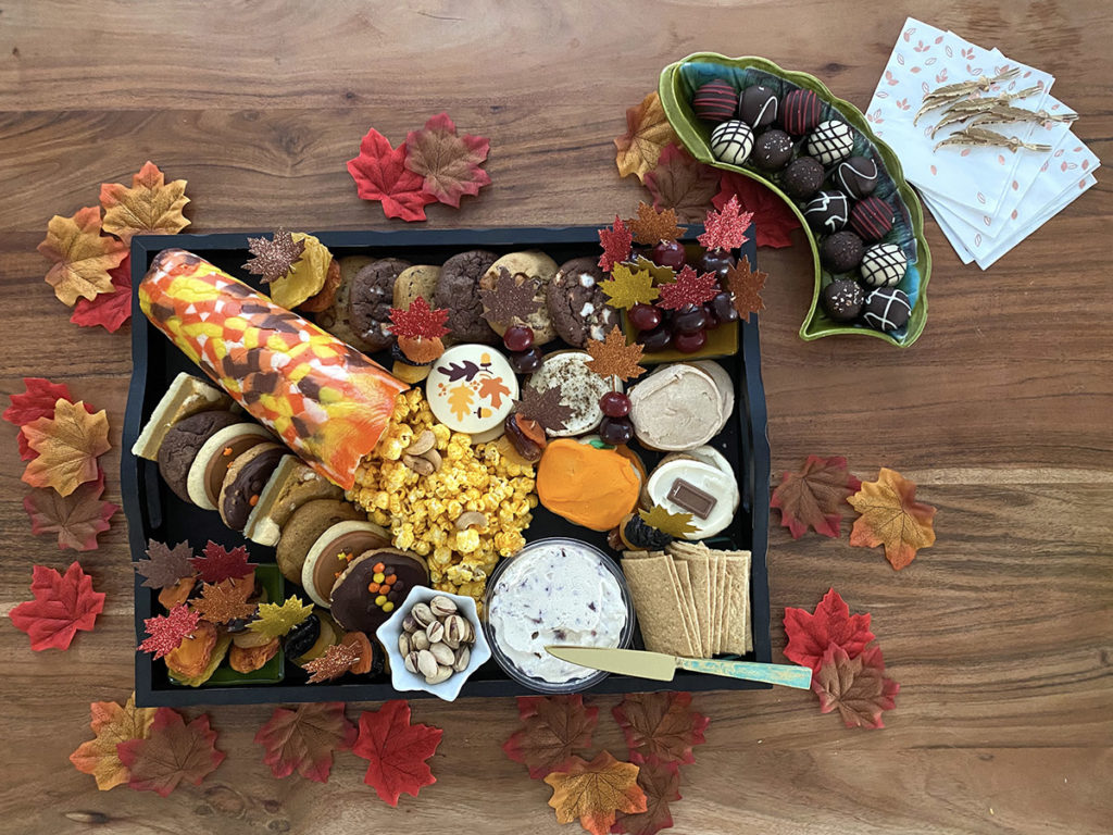 Photo of completed fall dessert board