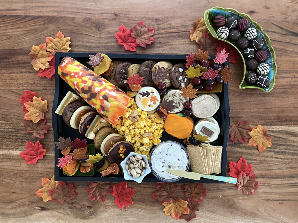 Photo of nearly complete fall dessert board