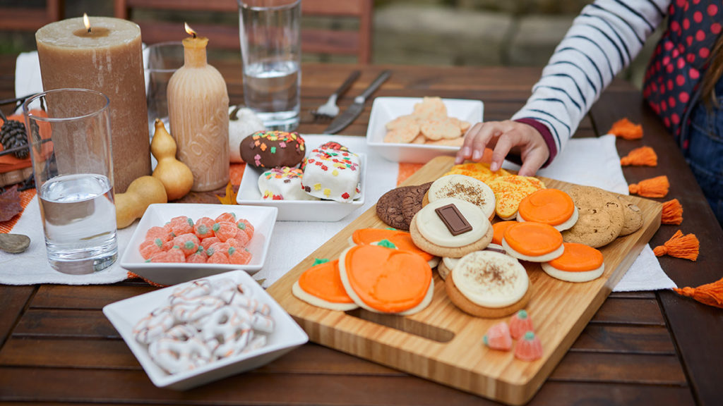 Photo of cookie board featuring fall flavors
