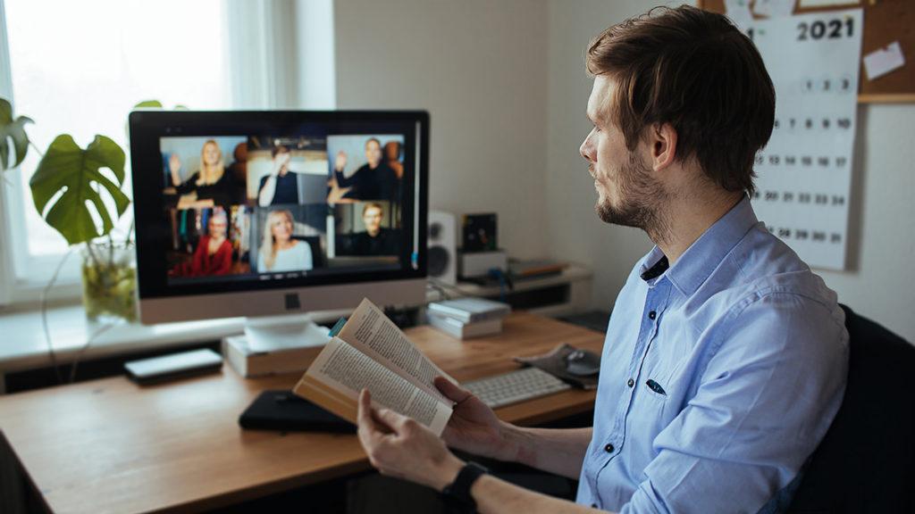 Photo of a man at a virtual book club event