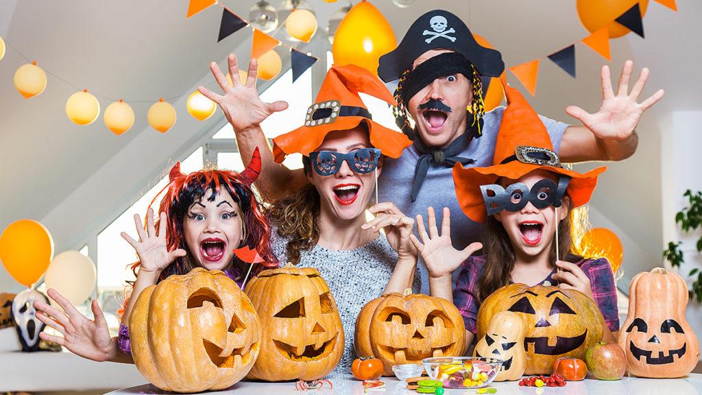 Photo of family celebrating Halloween